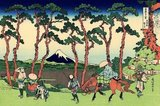 In Hokusai's 'Hodogaya on the Tokaido Road', Mount Fuji is seen through a screen of pines trees. In the foreground a group of travellers make their way from Edo [Tokyo], to the imperial capital, Kyoto.<br/><br/>  'Thirty-six Views of Mount Fuji' is an 'ukiyo-e' series of large, color woodblock prints by the Japanese artist Katsushika Hokusai (1760–1849). The series depicts Mount Fuji in differing seasons and weather conditions from a variety of places and distances. It actually consists of 46 prints created between 1826 and 1833. The first 36 were included in the original publication and, due to their popularity, 10 more were added after the original publication.<br/><br/>  Mount Fuji is the highest mountain in Japan at 3,776.24m (12,389ft). An active stratovolcano that last erupted in 1707–08, Mount Fuji lies about 100 km southwest of Tokyo. Mount Fuji's exceptionally symmetrical cone is a well-known symbol and icon of Japan and is frequently depicted in art and photographs. It is one of Japan's 'Three Holy Mountains' along with Mount Tate and Mount Haku.<br/><br/>  Fuji is nowadays frequently visited by sightseers and climbers. It is thought that the first ascent was in 663 CE by an anonymous monk. The summit has been thought of as sacred since ancient times and was forbidden to women until the Meiji Era. Ancient samurai used the base of the mountain as a remote training area, near the present-day town of Gotemba.