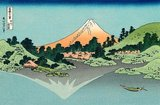 In this Hokusai masterpiece, Mount Fuji is reflected in Lake Kawaguchi as viewed from the Misaka Pass in Kai province. Hokusai has signed his work in a cartouche in the top left of the picture.<br/><br/>   'Thirty-six Views of Mount Fuji' is an 'ukiyo-e' series of large, color woodblock prints by the Japanese artist Katsushika Hokusai (1760–1849). The series depicts Mount Fuji in differing seasons and weather conditions from a variety of places and distances. It actually consists of 46 prints created between 1826 and 1833. The first 36 were included in the original publication and, due to their popularity, 10 more were added after the original publication.<br/><br/>   Mount Fuji is the highest mountain in Japan at 3,776.24 m (12,389 ft). An active stratovolcano that last erupted in 1707–08, Mount Fuji lies about 100 km southwest of Tokyo. Mount Fuji's exceptionally symmetrical cone is a well-known symbol and icon of Japan and is frequently depicted in art and photographs. It is one of Japan's 'Three Holy Mountains' along with Mount Tate and Mount Haku. Fuji is nowadays frequently visited by sightseers and climbers. It is thought that the first ascent was in 663 CE by an anonymous monk. The summit has been thought of as sacred since ancient times and was forbidden to women until the Meiji Era. Ancient samurai used the base of the mountain as a remote training area, near the present-day town of Gotemba.