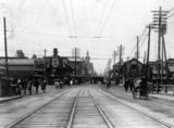 Tram lines and rickshaws in a Tokyo suburb, 1905.