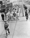 Japanese prisoners of war helping in the massive cleanup after the Battle of Manila in 1945.