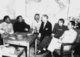 Conference at Yenan Communist Headquarters. Central figures are U.S. Ambassador Patrick J. Hurley, Col. I.V. Yeaton, U.S. Army Observer, Mao Zedong, Zhu De and Zhou Enlai.